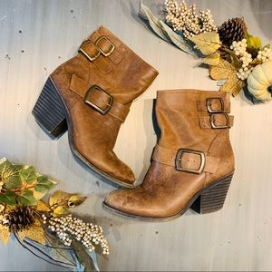 Lucky Brand | Leather Buckle Heeled Booties